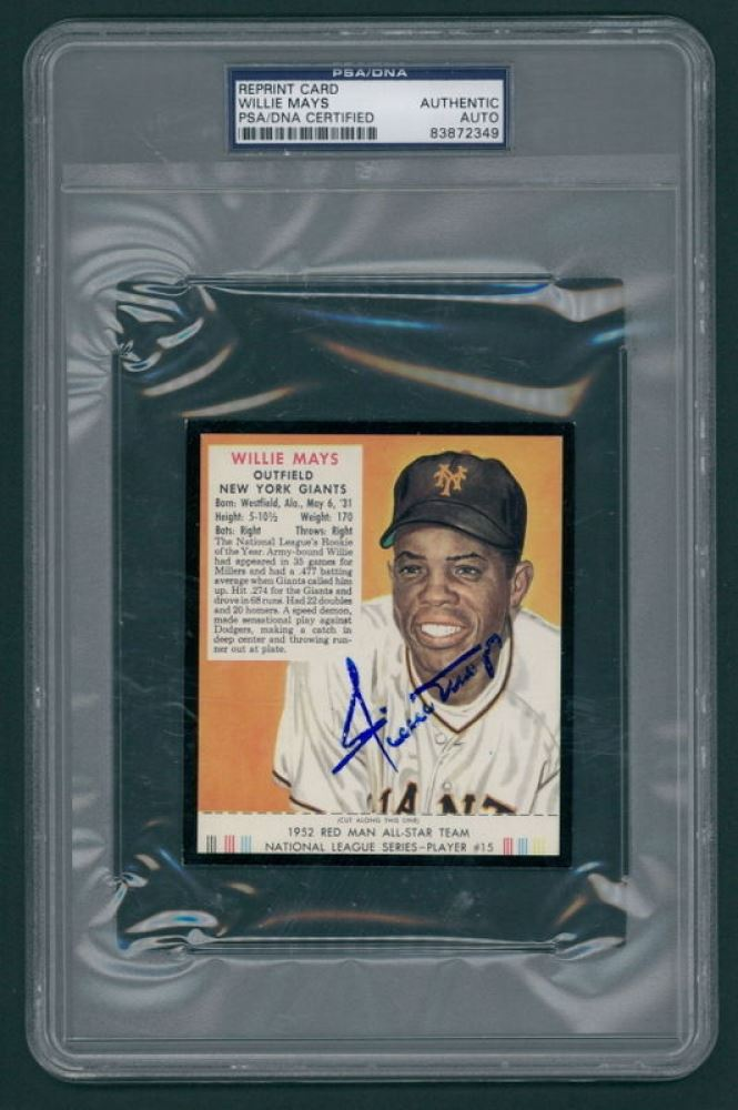 Willie Mays Signed 1952 Red Man 15 Reprint Baseball Card Psa