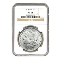 1878 $1 Morgan Silver Dollar 8 Tail Feather MS63