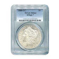 1880-CC 8/High 7 $1 Morgan Silver Dollar - PCGS MS64