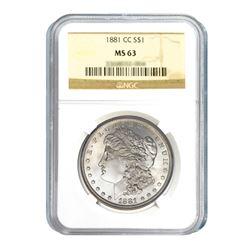 1881-CC $1 Morgan Silver Dollar - NGC MS63