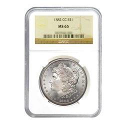1882-CC $1 Morgan Silver Dollar - NGC MS65
