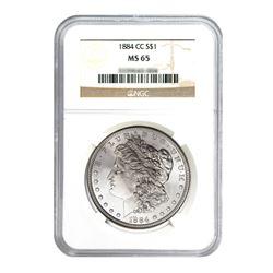 1884-CC $1 Morgan Silver Dollar - NGC MS65
