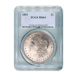1891 $1 Morgan Silver Dollar - PCGS MS64
