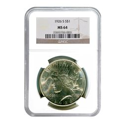 1926-S $1 Peace Silver Dollar - NGC MS64