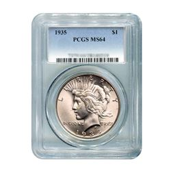 1935 $1 Peace Silver Dollar PCGS MS64
