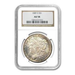 1889-S $1 Morgan Silver Dollar - NGC AU58