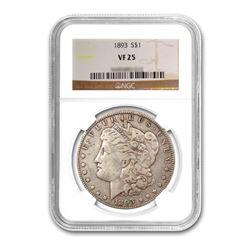 1893 $1 Morgan Silver Dollar - NGC VF25