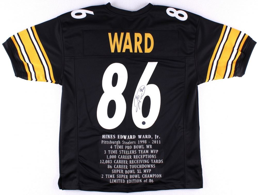 4efcfa523d8 Image 1   Hines Ward Signed Steelers Career Highlight Stat Jersey (TSE COA)  ...