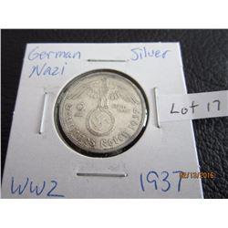 Sliver German Nazi Coin (11) WW 2 1937