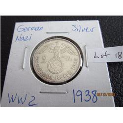 Sliver German Nazi Coin (11) WW 2 1938
