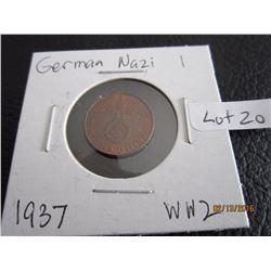 Copper German Nazi Coin (11) WW 2 1937