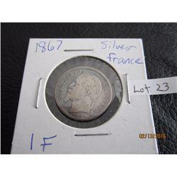 1867 Sliver France Coin 1F