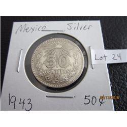 Mexico 1943 Sliver fifty centaros