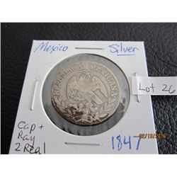 Mexico silver 1847 cap and ray 2 real coin