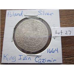 Poland silver coin 1664 King 1 Cazimir