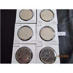 6 Canadian Dollars 1968, 69, 72, 75, 77, 78