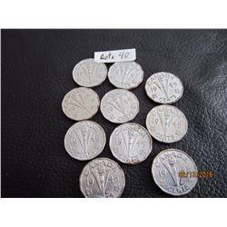 (10) 1945 WW2 Nickels Canada