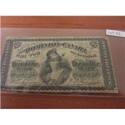 1870 Dominion of Canada 25¢ Shinplaster