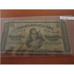 1870 Dominion of Canada 25¢ Bill Shinplaster