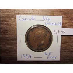 1854 half penny Canada New Brunswick