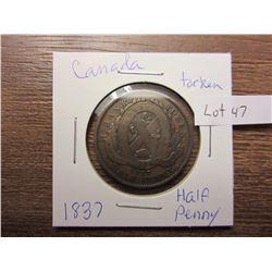 1837 half penny Canada token