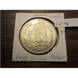 1958 Silver Canadian dollar