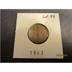 1 Canadian WWII 1943 Victory penny