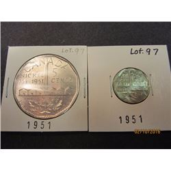 1 Canadian Sudbury 1751 - 1951, 5 cent coin.  The Big Nickel 1 Canadian 1791 - 1951, 5 cent Nickel,