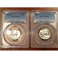 (2) US 25Cent PCGS 1963-D MS63, 1964 MS64