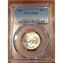 1943 US 25Cent PCGS MS66