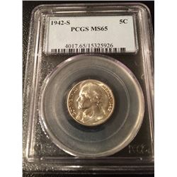 1942-S US Silver 5 Cent PCGS MS65