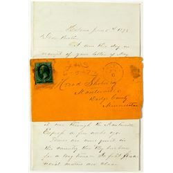 Helena, Lewis & Clark 1873 Cancel with Letter