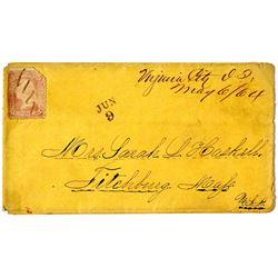 Virginia City, Idaho Territory Manuscript Cancel