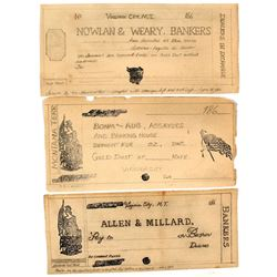 Virginia City, Montana Territorial Hand-drawn Check Proofs c.1860s