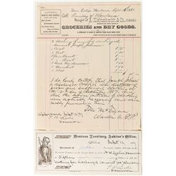 Deer Lodge Billhead for Clothes Bought for Discharged Convict (w/ Governor & Warden Signatures)