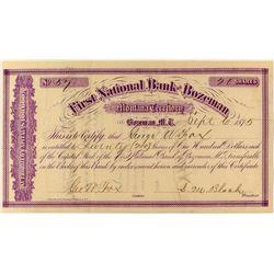 First National Bank of Bozeman Stock Certificate