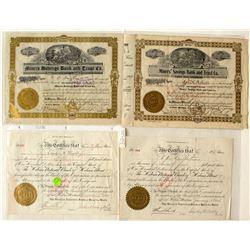 Four Montana Bank Stock Certificates
