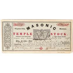 1867 Rare Virginia City Masonic Temple Stock Certificate