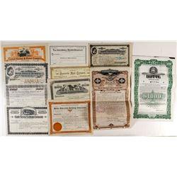 Nine Various Montana Stock Certificates & Bonds