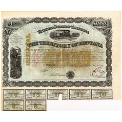 Gorgeous 1876 $1,000 Territorial Bond signed by Governor (and Civil War General) B.F. Potts