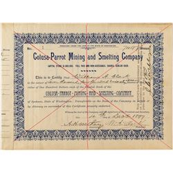 No. 1 Stock Certificate issued to Copper King William A. Clark, Colusa-Parrot Mining & Smelting Comp