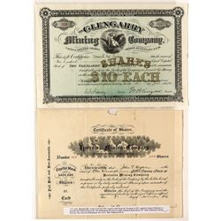 Two Rare Butte Mining Stock Certificates