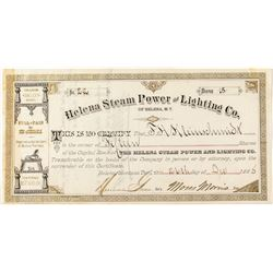 Helena Steam Power & Lighting Company Stock Certificate