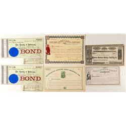 Montana Mining Stock Certificates and Territorial Bonds