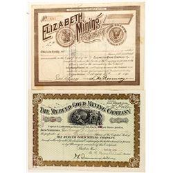 Pair of Nice Pictorial Montana Mining Stock Certificates