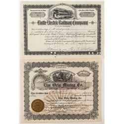 """Railroad & Mining Stock Certificate Pair signed by """"Copper King"""" W.A. Clark"""
