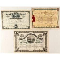 Three Different Nice Montana Mining Stock Certificates