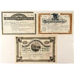 Three Nice Montana Mining Stock Certificates