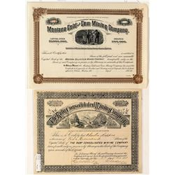 Two Gem-Related Montana Mining Stock Certificates