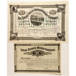 Two Nice Montana Mining Stock Certificates (one issued to Clark)